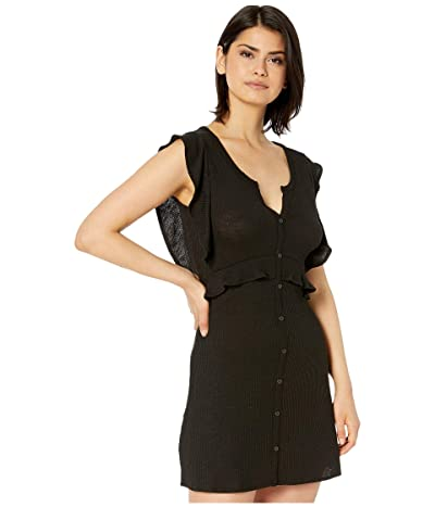 Jack by BB Dakota Knit Dress with Front Button Faux Placket (Black) Women