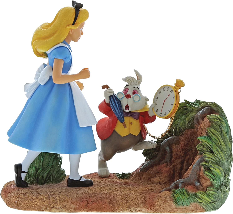 Enchanting Disney Mr Rabbit WaitAlice in Wonderland Figurine, Resin, Colourful, 20 x 8.5 x 18.5 cm