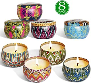 YIHANG Scented Candles Gift Sets, Natural Soy Wax 2.5 Oz Unit Portable Travel Tin Perfect for Women Aromatherapy Anniversary - 8 Pack
