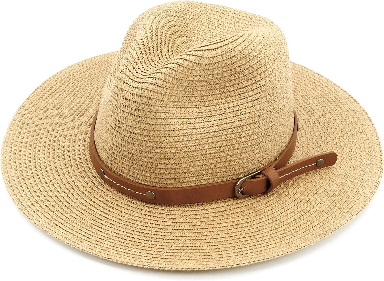 Wide Brim Straw Hat for Women Men Fedora Panama Hat Straw Beach Hat with Detachable Chin Strap Sun Hat UV UPF 50