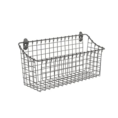 Spectrum Diversified Vintage Extra Large Cabinet & Wall-Mounted Basket for Storage & Organization Rustic Farmhouse Decor, Sturdy Steel Wire Storage Bin, Industrial Gray