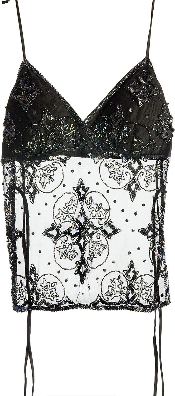 Hottie TilyTie Padded Halter Sheer Top   Backless with Intricate Black Beading & Sequin.