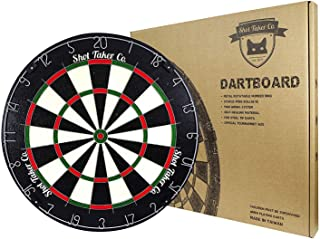 "SHOT TAKER CO. EST. 2017 Professional Dartboard | for Steel Tip Darts | Natural Fibers Material for Self- Healing Ability | Movable Number Ring | Tournament Size 18"" x1.5"