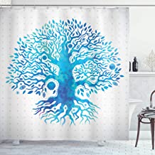 Ambesonne Tree Shower Curtain, Watercolor Effect Tree of Life Illustration Print with Pale Gray Polka Dot Background, Cloth Fabric Bathroom Decor Set with Hooks, 75 Long, White Blue
