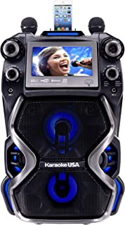 Karaoke USA Complete Rechargeable Karaoke System with 2 Microphones, Remote Control,..