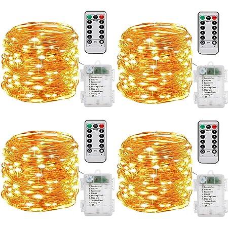 Guirlande lumineuse à Pile,[Lot de 4] 10m 100 LEDs Fonction Minuterie avec Télécommande IP65 Etanche,fil de cuivre avec 8 modes de lumière pour Décoration intérieur et extérieur (blanc chaud)