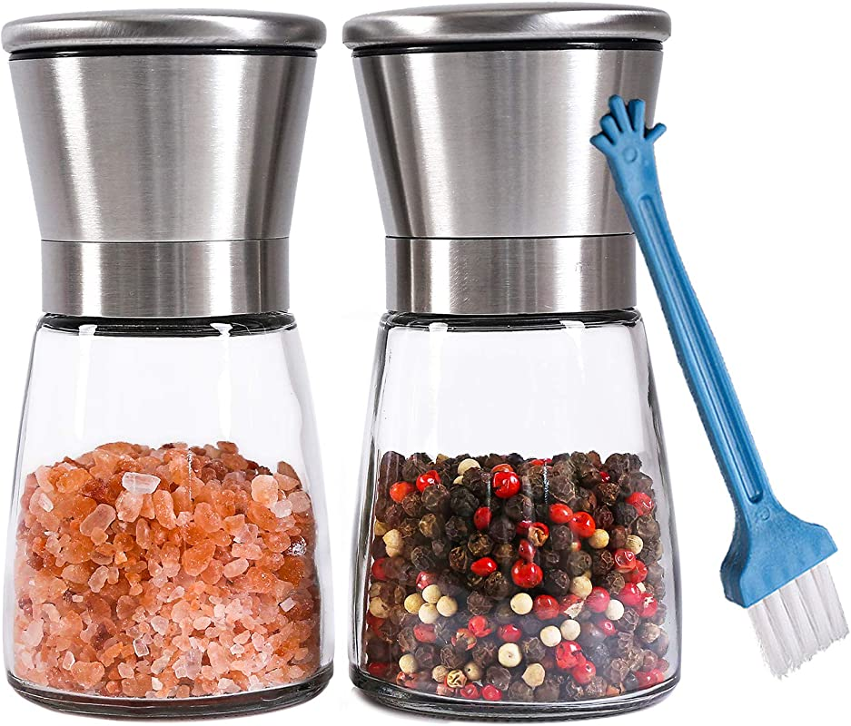 Premium Salt And Pepper Grinder Set Of 2 Refillable Coarseness Adjustable Stainless Steel Salt And Pepper Mill Shakers With Lid 6 OZ Glass Body And Free Cleaning Brush