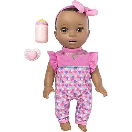 Luvabella Newborn Interactive Toys Baby Doll W//dark Brown lifelike tummy moves