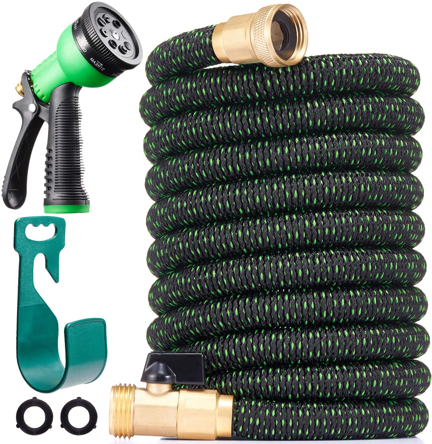 100ft Expandable Garden Hose - 2021 Upgraded Expanding Water Hoses with Spray Nozzle - Flexible Retractable Hose Pipe with Triple Latex Core, 3/4
