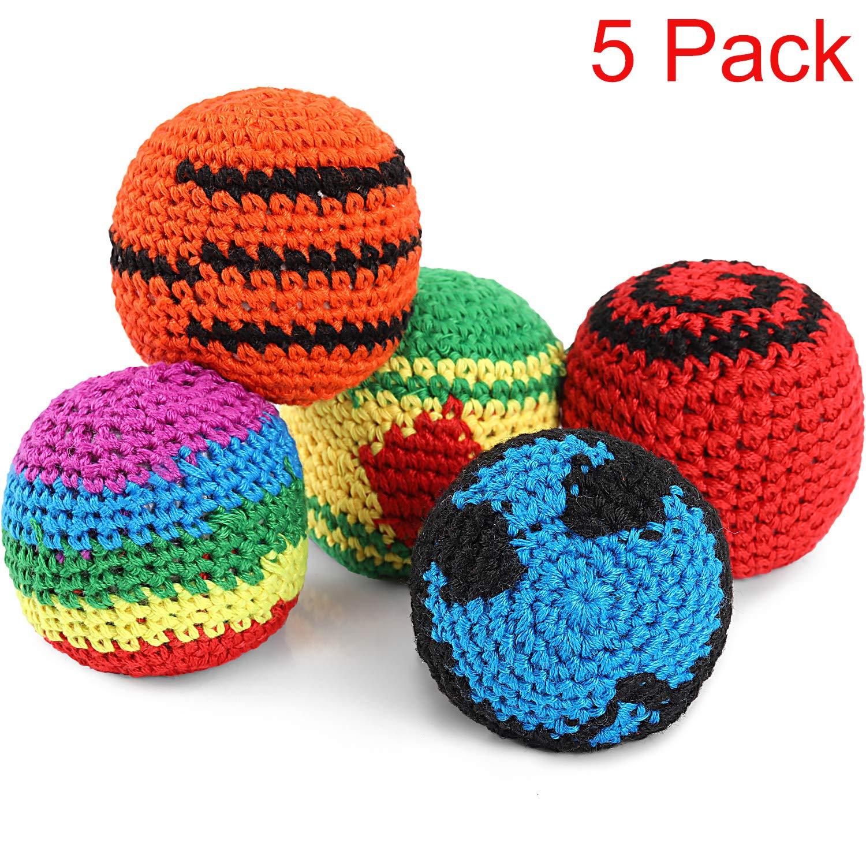 5 Piezas de Pelotas Tejidas de Multicolor Kickball Tejido Suave ...