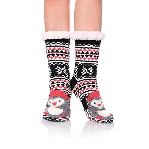 fb3112a0b4e LINEMIN Women Slipper Sock - Super Cute Cartoon Animal Soft Sherpa Lined  Nonskid Fuzzy Cozy Winter