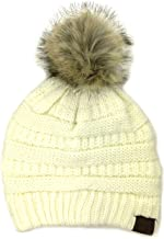 Plum Feathers Soft Stretch Cable Knit Ribbed Faux Fur Pom Pom Beanie Hat