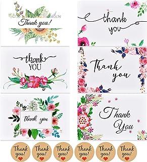 Ipow [48 PCS] Kit de 4 Estilos de tarjetas de agradecimiento para escribir con sobres y calcomanía para bodas, cumpleaños, Navidad, Comunion - Plegable 10 x 15 cm