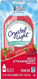 Crystal Light Sugar-Free Wild Strawberry Drink Mix With Caffeine (120 On-The-Go Packets, 12 Packs Of 10)