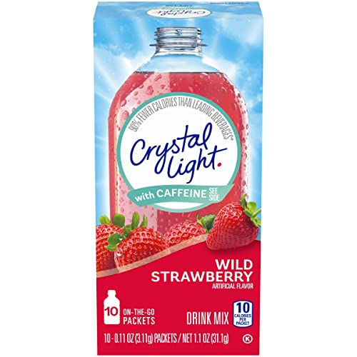 Crystal Light Sugar-Free Wild Strawberry with Caffeine (120 On-the-Go Packets, 12 Packs of 10)