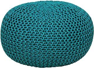 Pouf Pouffe Lavable Pouf Impermeable 100% Stool Tejer heces cojín Inferior de Asiento óptica Grobstrick Ø 55 x 37 cm Extra Grande Color Turquesa - navegar