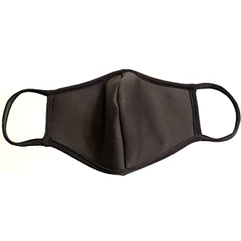 DewAmor Reusable, Washable Neoprene/Cotton Face Mask Protection from Dust, Pollen, Pet Dander and other Airborne Irritants(Black)