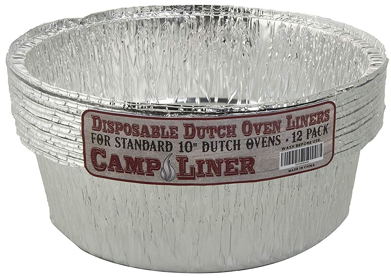 "Disposable Dutch Oven Foil Liner, 12 Pack of 10"" 4Q liners, No more Cleaning, Seasoning your Dutch ovens. Lodge, Camp Chef."