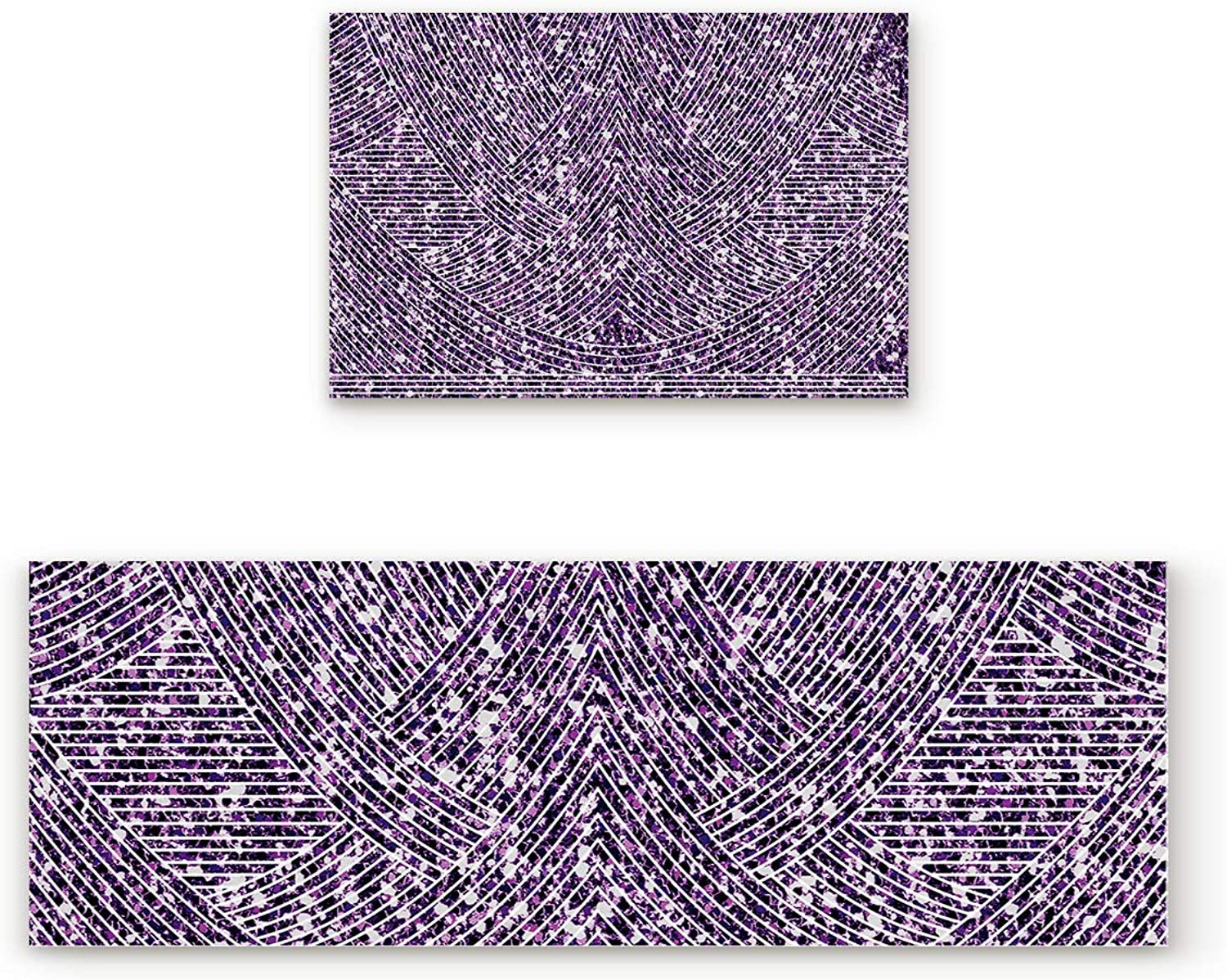 Fantasy Star Kitchen Rugs Sets 2 Piece Floor Mats Lines Purple Marble Doormat Non-Slip Rubber Backing Area Rugs Washable Carpet Inside Door Mat Pad Sets (23.6  x 35.4 +23.6  x 70.9 )