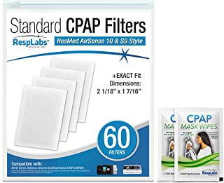 RespLabs CPAP Filters Compatible with ResMed AirSense, AirCurve - S9, AirStart, Autoset 10 | Disposable, Universal Replacement Filter Kit [60 Pack]