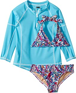 Funky Feathers Bikini & Aqua Rashguard Set (Infant/Toddler/Little Kids/Big Kids)