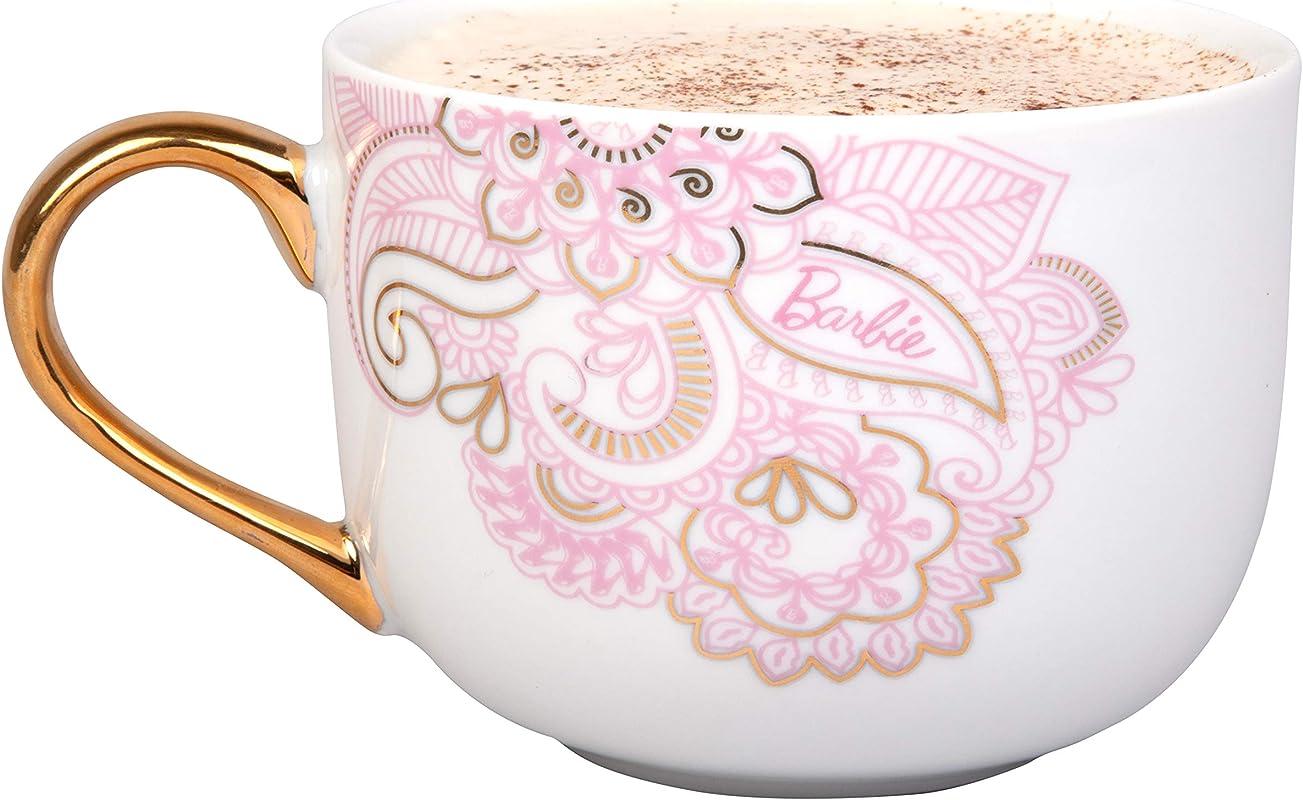 Barbie Coffee Latte Mug Pretty Pinache Gold And Pink Paisley Design 20 Oz