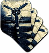 3dRose cst_271981_2 Abstracts of aviation Propeller of an old aircraft Stylized photo, set of 8 Soft Coasters