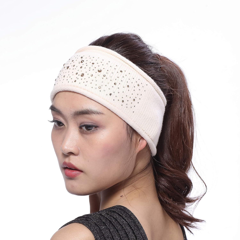 BeFur 3.7 inch Width Autumn Spring Knit Sports Hair Band   Winter Warm Ear Protector Headband with Rhinestones for Women Beige