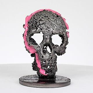 calavera CLXX - Escultura de calavera pigmentos de acero rosa - Vanity art