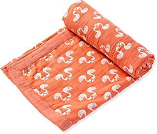 Angel Dear Jacquard Blanket, Swan Coral