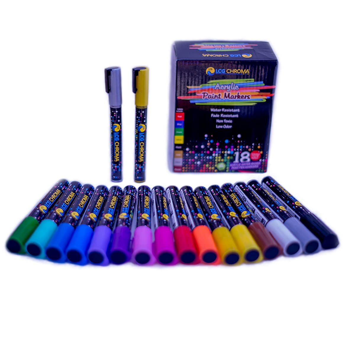 Multi-Color Acrylic Paint Marker/Pen Set with 18 Bullet & Chisel, Medium & Fine Tips - Use on Wood, Glass, Fabric, Ceramic, Rocks, Metal, Porcelain or Paper for DIY Projects, Art, and Painting