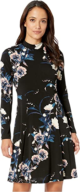 Printed Long Sleeve Mock Neck Dress