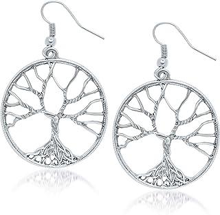 Tree of Life Earrings Silver Plated - Fashion Drop Dangle Earrings for Women & Girls - Pendant Hoop Earring Set - Women's Gift Idea for Anniversary - Birthday (Silver-Plated-Bronze)