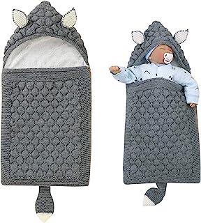 iFCOW Sovsäck för nyfödd baby, tecknade öron svans nyfödd baby linda filt spädbarn stickad fleecefodrad barnkammare filt b...