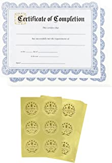 Certificate Paper – 48 Certificate of Completion Award Certificates with 48 Excellence Gold Foil Seal Stickers, for Student, Teacher, Professor, Blue, 8.5 x 11 Inches