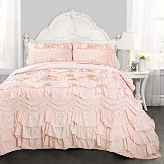 Lush Decor Kemmy Quilt - Ruffled Textured 3 Piece Full Queen Size Bedding Set, Blush