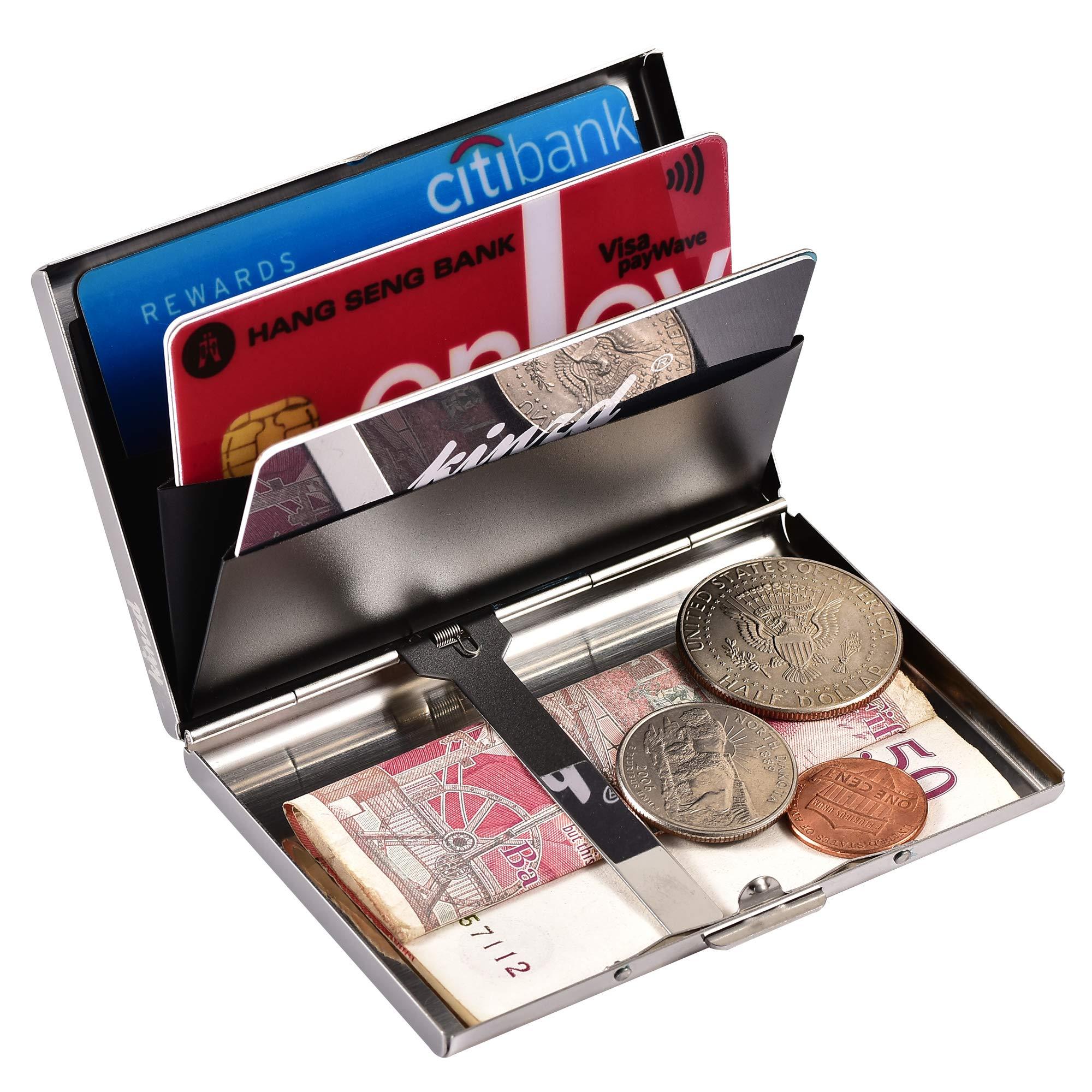 RFID Blocking Bank Card Wallet Stainless Steel nuosen Metal Credit Card Holder