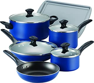 Farberware 21891 Dishwasher Safe Nonstick Cookware Pots and Pans Set, 15 Piece, Blue