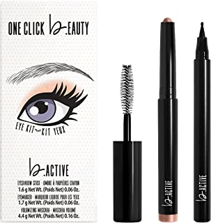 One Click Beauty b.ACTIVE 3-Piece Eye Kit, Longwear Makeup, The Warm Nudes