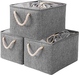 Yawinhe Lot de 3 Boîtes de Rangement Pliables,37 x 26 x 20 cm, Panier, Coffre, Cubes en Tissu, Organisateur de vêtements, ...