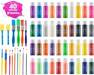 Kids Tempera Paint Set | Value Pack Includes 40 Washable Non-Toxic Colorful Paints (2oz bottles) & 15 Brushes | Metallic, Neon, Glow In The Dark, Glitter Paints | Paint For Arts & Crafts, Fun Projects