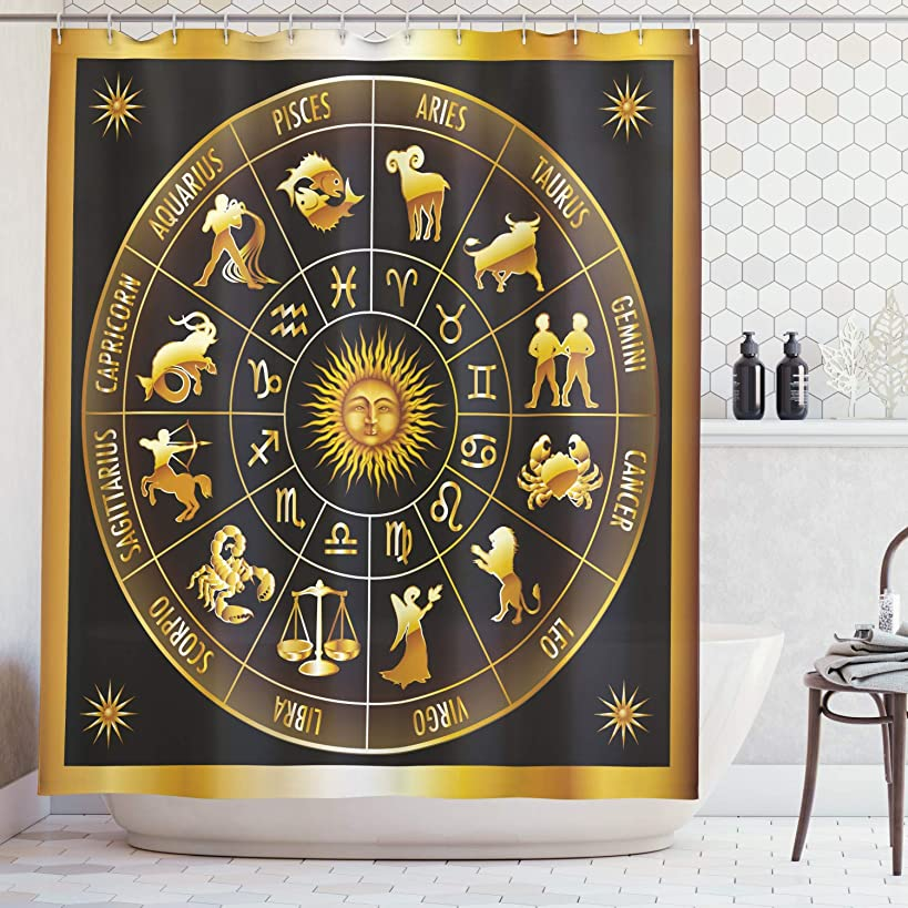 Ambesonne Astrology Shower Curtain, Wheel Zodiac Astrology Signs in Circle with Sun Moon Image in Circle, Fabric Bathroom Decor Set with Hooks, 75 Inches Long, Army Green