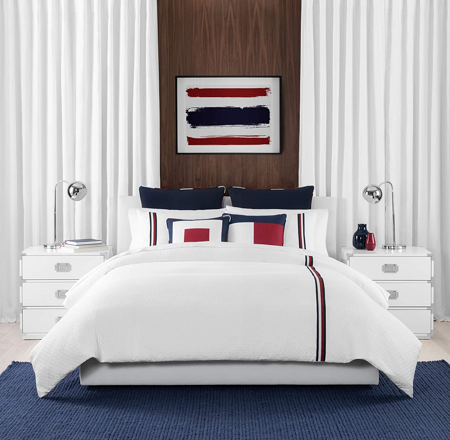 Tommy Hilfiger Signature Stripe Duvet White Cover online shopping Set safety Twin