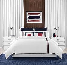 Tommy Hilfiger Signature Stripe Bedding Collection Duvet Cover Set, King, White