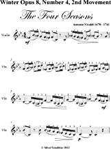 Winter Opus 8 Number 4 2nd Movement the Four Seasons Easy Violin Sheet Music