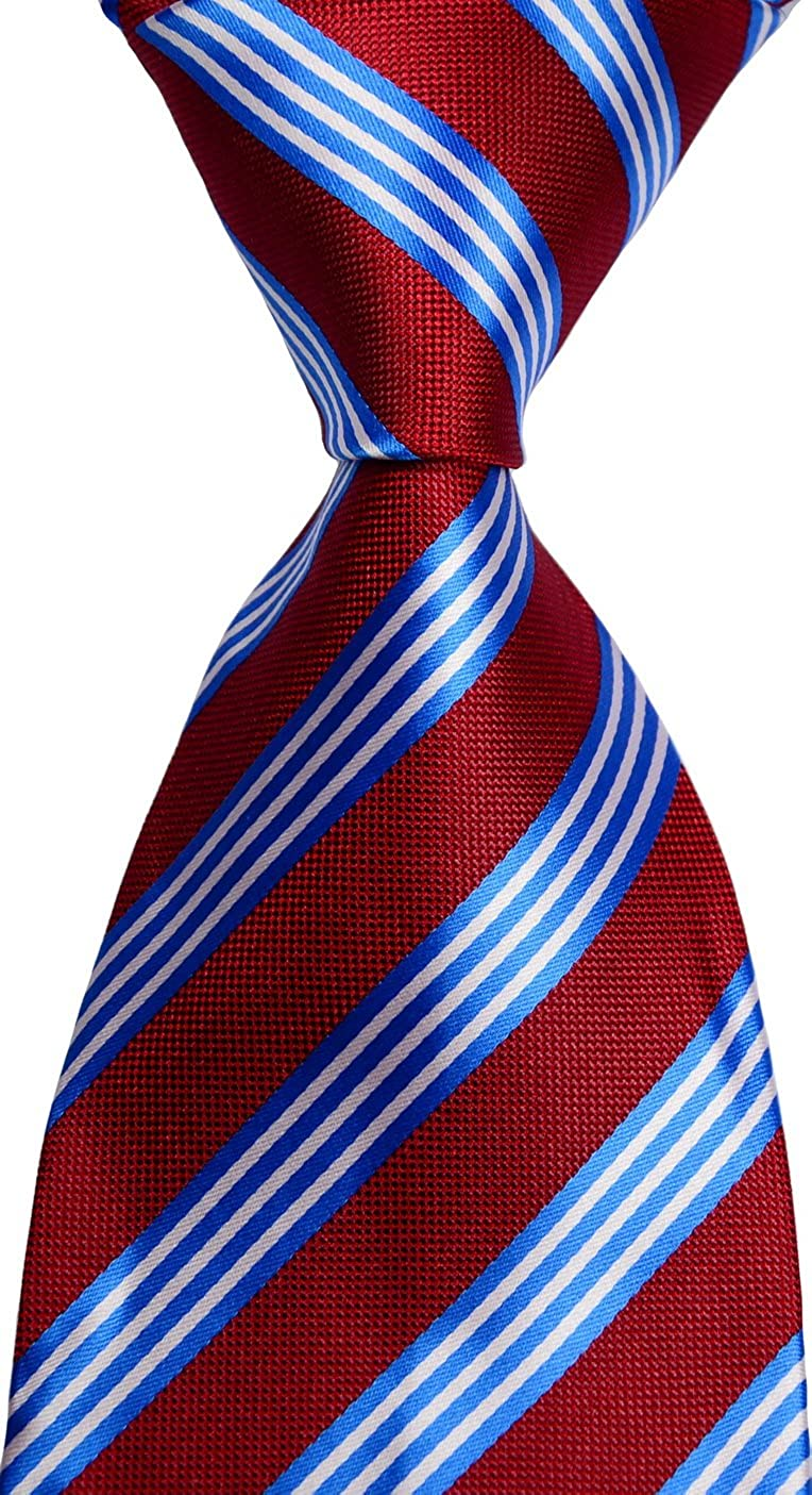 New Classic Cheap mail order sales Striped Red Blue White Men's Silk Limited time trial price WOVEN JACQUARD Tie