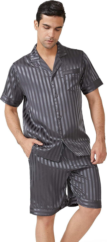DAVID ARCHY Men's Satin Silky Sleepwear Pajamas Set Button-Down Short Sleeve Loungewear