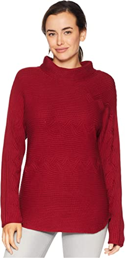 Sweater Knit Dolman Sleeve Audrey Neck w/ Cable Detail