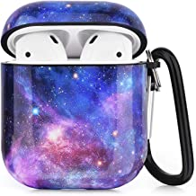 Airpods Case - CAGOS 3 in 1 Cute Airpods Accessories Protective Hard Case Cover Portable & Shockproof Women Girls Men with Keychain/Strap/Earhooks for Airpods 2/1 Charging Case - Purple Space