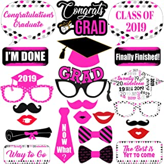 Graduation Photo Booth Props Pink - Graduation Decorations 2019 - Graduation Party Supplies 2019 | Photo Booth Props Graduation Party Decorations | Class of 2019 Graduation Photo Props Pink, 23 ct